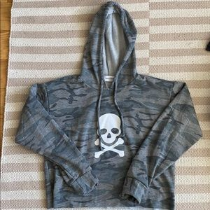 SoulCycle cropped camo skull hoodie